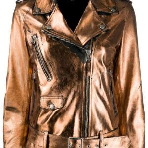 Metallic Sheen Leather Biker JacketMetallic Sheen Leather Biker Jacket