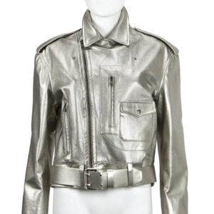 Metallic Silver Biker Leather Jacket