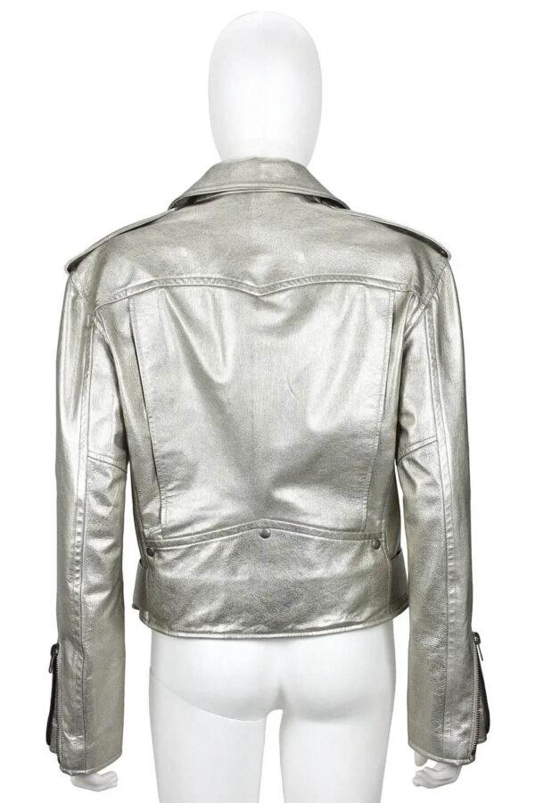 Metallic Silver Biker Leather Jacket