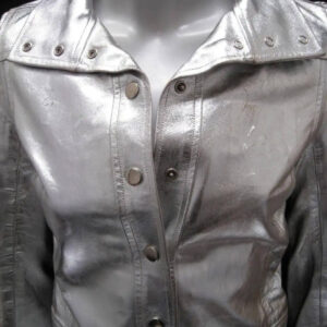 Metallic Silver Leather Vintage 1960s Jacket
