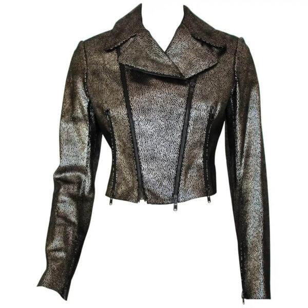 Metallic Suede Leather Biker Jacket