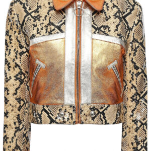Metallic and Snake Effect Leather Jacket