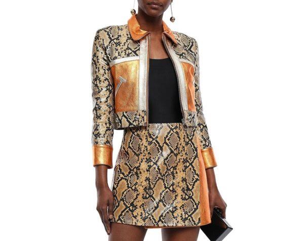 Metallic and Snake Effect Leather Jacket
