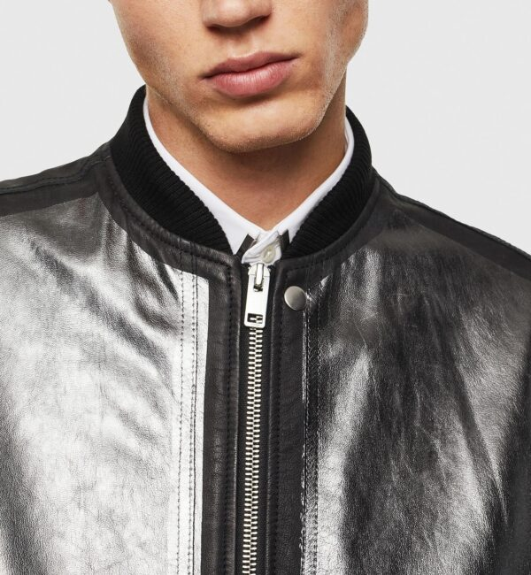 Metallic leather Bomber jacket in Black