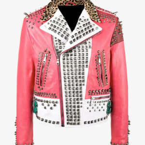 Multi-Color Block Panel Studded Leather Jacket