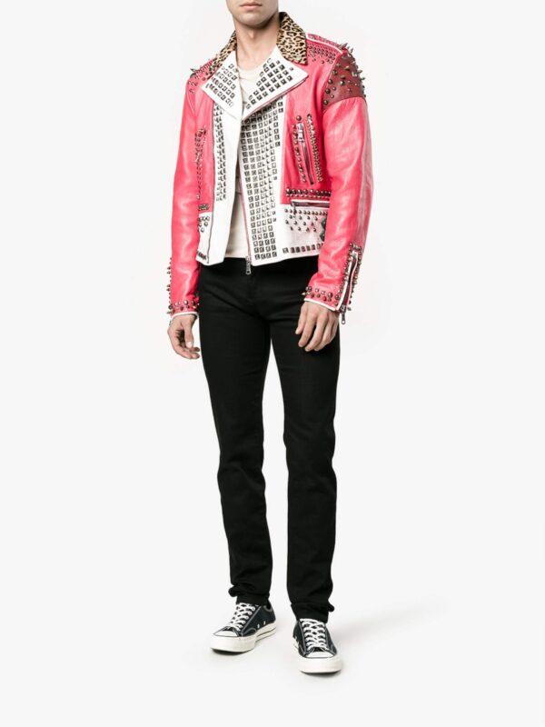 Multi-Color Block Panel Studded Leather Jacket