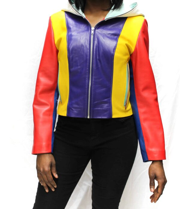 Multi-Color Hooded Leather Jacket