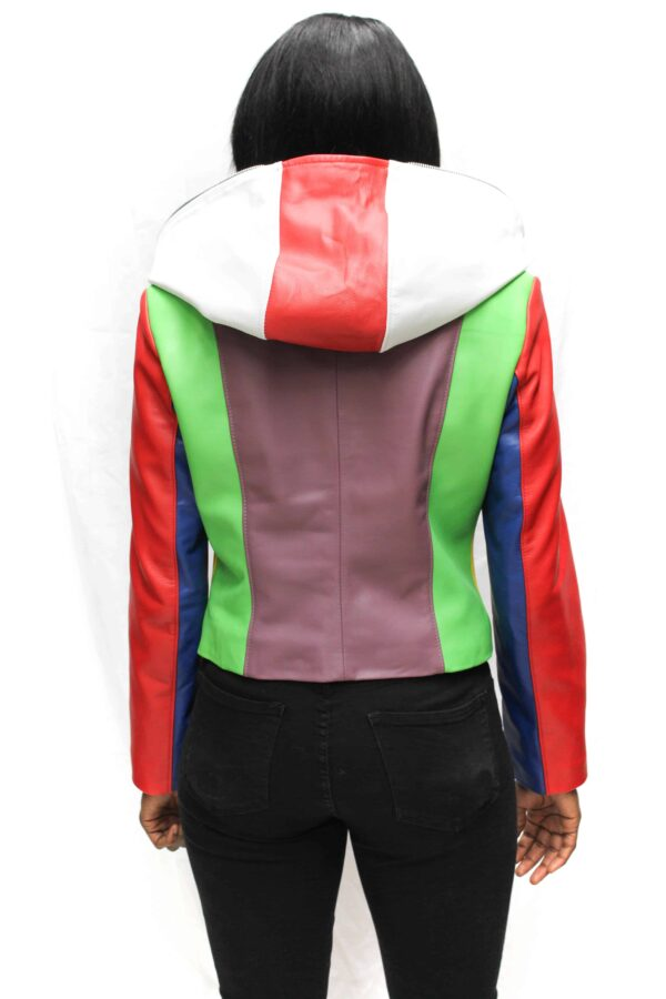 Multi-Color Hooded Leather Jacket (3)