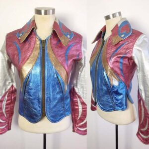 Multi Color Metallic Parrot Vintage Leather Jacket