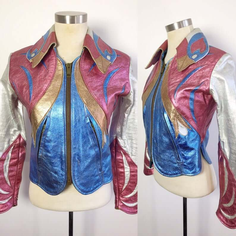 Multi Color Metallic Parrot Vintage Leather Jacket
