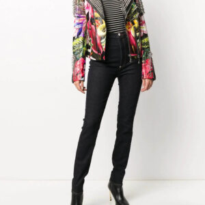 Multi-Color Spike Stud Floral Biker Jacket