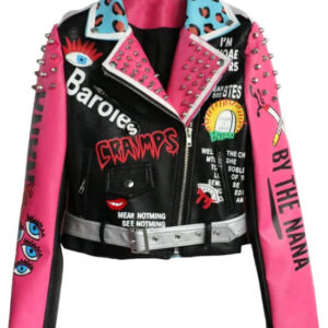 Multi Color Studded Biker Leather Jacket