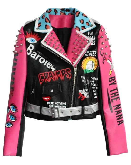 Multi Color Studded Biker Leather Jacket
