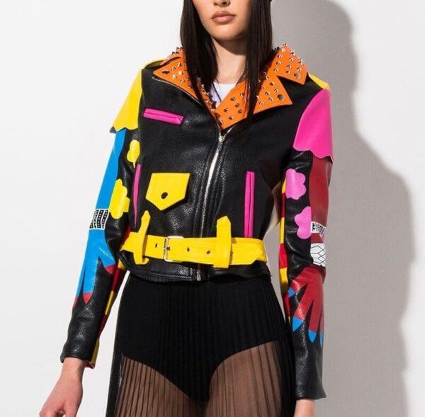 Multi-Color Studded Biker Leather Jacket