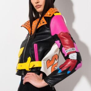 Multi-Color Studded Biker Leather Jacket