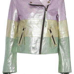 MultiColor Fringed Metallic Leather Biker jacket