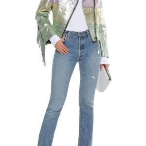 MultiColor Fringed Metallic Leather Biker jacket