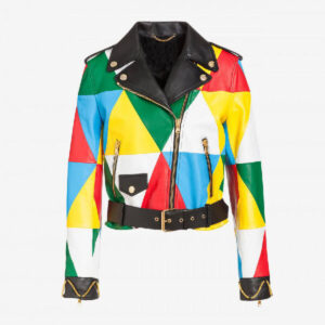 Multi color Biker Leather Women's Jacket