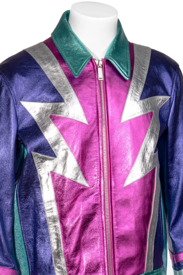 Multicolored Metallic Leather Jacket