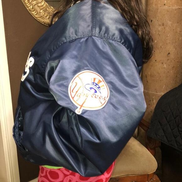 New York Navy Blue Yankees Satin Jacket