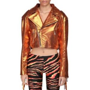 Orange Cropped Metallic Fringe Leather Jacket