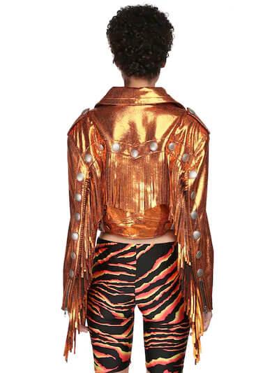 Orange Cropped Metallic Fringe Leather JacketOrange Cropped Metallic Fringe Leather Jacket