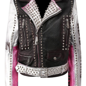 Philipp Plein Multi Color Silver Studded Leather Jacket