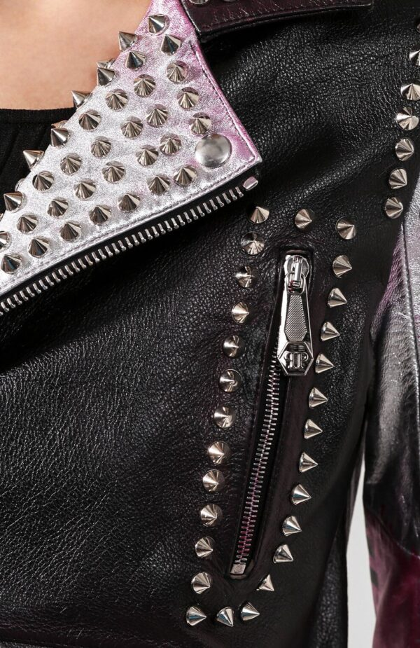 Philipp Plein Multi Color Silver Studded Leather Jacket