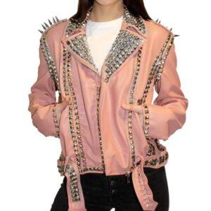 Pink Golden Studded Leather Biker Jacket