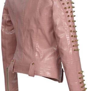 Pink Golden Studded Punk Leather Biker Jacket