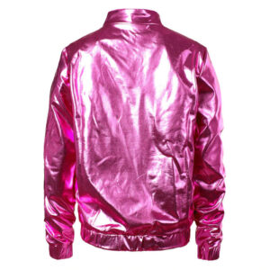 Pink Metallic Coated Women Jacket