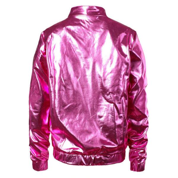 Pink Metallic Coated Women Jacket
