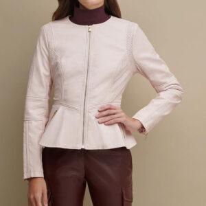Pink Peplum Women Leather Jacket