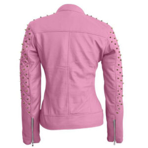 Pink Quilted Gold Studded Skeletons Leather Jacket