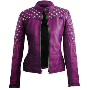 Purple Star Silver Studs Quilted Leather Jacket