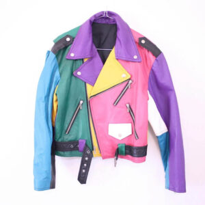 Rainbow Leather 80s Biker Jacket