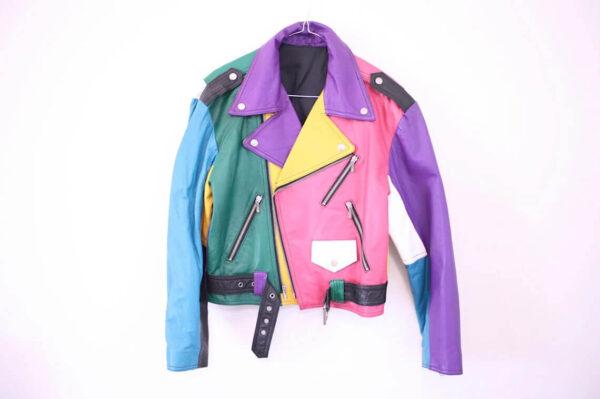 Rainbow Leather 80s Biker Jacket