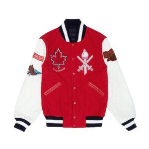 Red Canada Varsity Leather Jacket