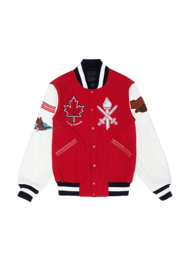 Red Canada Varsity Leather Jacket