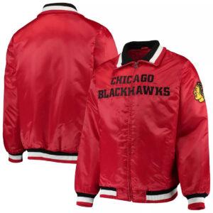 Red Chicago Blackhawks Captain II Satin Jacket