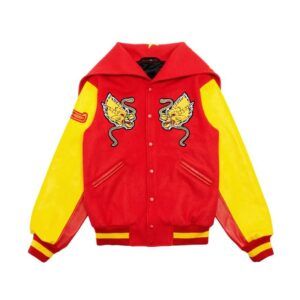 Red China Global Varsity Leather Jacket