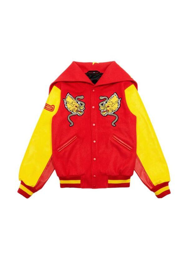 Red China Global Varsity Leather Jacket