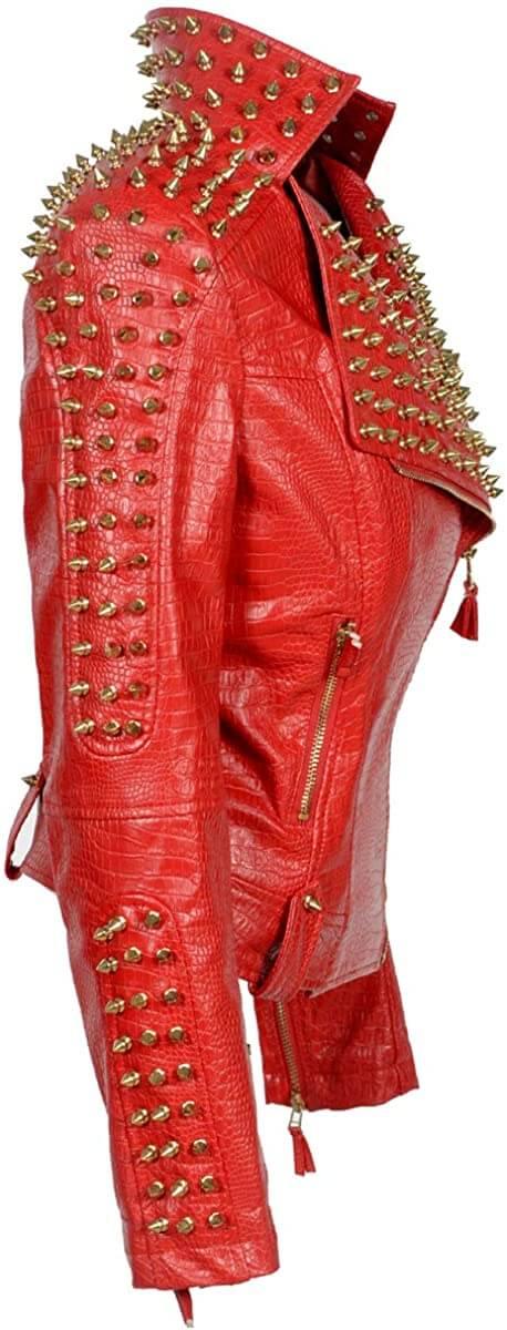 Red Golden Studded Punk Leather Biker Jacket