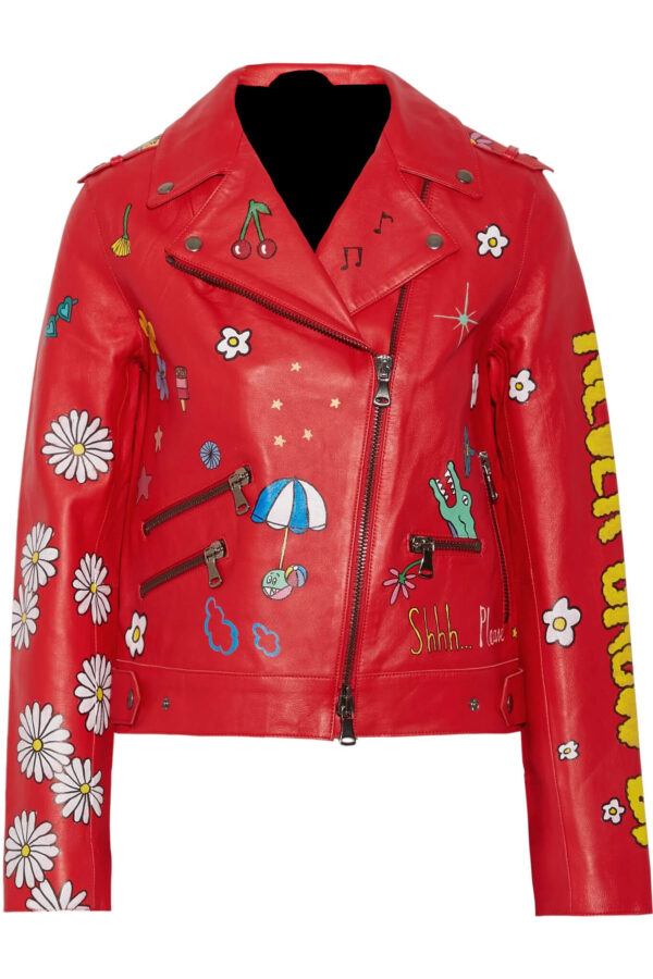 Red Painted Leather Biker Jacket