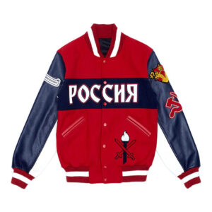 Red Russia Varsity Leather Jacket
