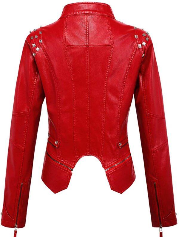 Red Silver Studded Rivet Leather Jacket