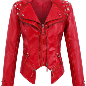 Red Silver Studded Rivet Leather Jacket