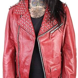 Red Silver Studs Leather Biker Style Jacket