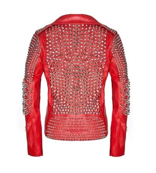 Red Studded Silver Spiked Biker Leather Jacket