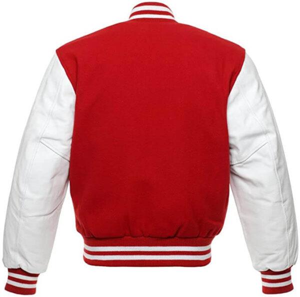 Red Letterman Varsity Baseball Wool Jacket